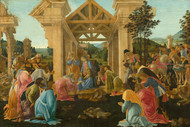 Adoration of the Magi by Sandro Botticelli Framed Print on Canvas