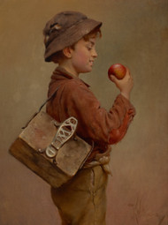 Boy with an Apple by Karl Witkowski Framed Print on Canvas