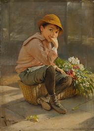 Guarding the flower basket by Karl Witkowski Framed Print on Canvas