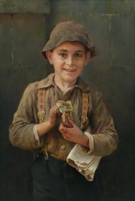 Newsboy 1899 by Karl Witkowski Framed Print on Canvas