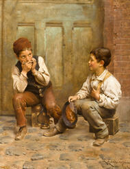 Shoeshine boys 1889 by Karl Witkowski Framed Print on Canvas