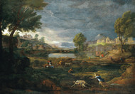 Landscape during a Thunderstorm with Pyramus and thisbe by Nicolas Poussin Framed Print on Canvas