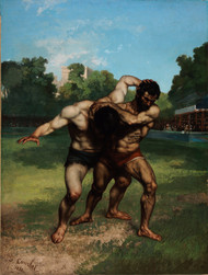 The Wrestlers 1853 by Gustave Courbet Framed Print on Canvas