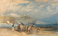 Folkestone Harbour and Coast to Dover 1829 by Joseph Turner Framed Print on Canvas