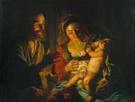Holy Family 1640 by Matthias Stom Framed Print on Canvas