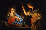 The Annunciation by Matthias Stom Framed Print on Canvas