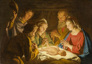 The Adoration of the Shepherds by Matthias Stom Framed Print on Canvas