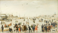 Winter Scene on a Frozen Canal 1620 by Hendrick Avercamp Framed Print on Canvas