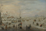 Enjoying the Ice 1615 by Hendrick Avercamp Framed Print on Canvas