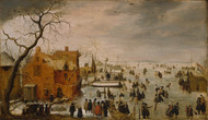 Ice landscape 1610 by Hendrick Avercamp Framed Print on Canvas