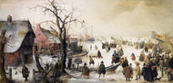 Winter Scene on a Canal 1615 by Hendrick Avercamp Framed Print on Canvas