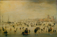 Skating Scene 1620 by Hendrick Avercamp Framed Print on Canvas
