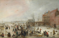 A Scene on the Ice near a Town 1615 by Hendrick Avercamp Framed Print on Canvas