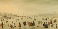 A Scene on the Ice 1625 by Hendrick Avercamp Framed Print on Canvas