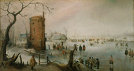 Skating Near a Town 1610s by Hendrick Avercamp Framed Print on Canvas