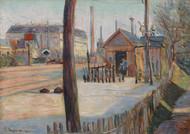 Railway junction near Bois-Colombes 1885 by Paul Signac Framed Print on Canvas