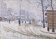 Snow, Boulevard de Clichy, Paris 1886 by Paul Signac Framed Print on Canvas