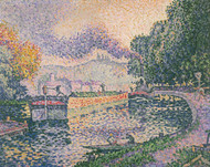 The Tugboat Canal in Samois 1901 by Paul Signac Framed Print on Canvas