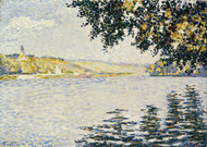 View of the Seine at Herblay 1889 by Paul Signac Framed Print on Canvas