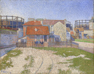 Gasometers at Clichy 1886 by Paul Signac Framed Print on Canvas