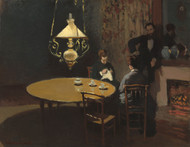Interior, after Dinner 1868 by Claude Monet Framed Print on Canvas