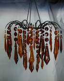 Amber & Brown Acrylic Drop Large Beaded Chandelier Hand Hooked