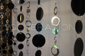 Silver & Black Hip Circles Beaded Curtains - 3 Feet by 6 Feet