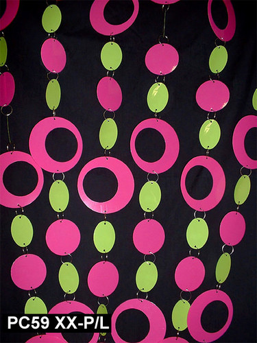 Pink & Green Hip Circles Chained Beaded Curtains - 3 Feet by 6 Feet