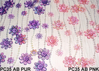 Purple Daisies Beaded Curtains - 3 Feet by 6 Feet