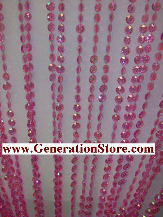 Pink Iridescent Diamond Beaded Curtains - 3 Feet by 12 Feet