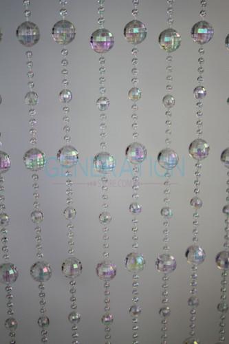Crystal Iridescent Disco Ball Beaded Curtains - 3 Feet by 6 Feet