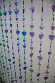 Rainbow Iridescent Hearts Beaded Curtains - 3 Feet by 6 Feet