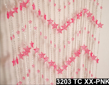 Pink Stars Beaded Curtains - 3 Feet by 6 Feet