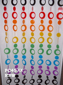 Rainbow Hip Circles Beaded Curtains - 3 Feet by 6 Feet