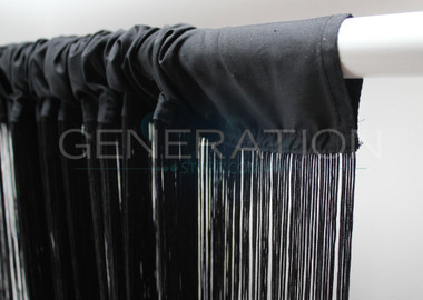 Black String Curtains - 3 Feet by 9 Feet