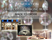 Custom Made Glass Crystal Hanging Beaded Curtains, Chandeliers and Columns