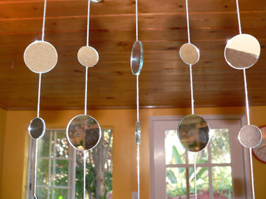 Mirror Disc Beaded Curtains - 1 Foot by 6 Feet