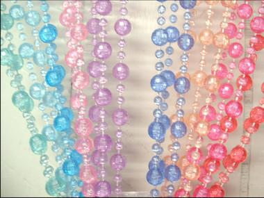 Pastel Rainbow Pearl Ball Beaded Curtains - 3 Feet by 6 Feet