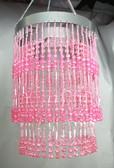 Pink Beaded Chandelier 2 Tiers Cubic Balls Chandelier