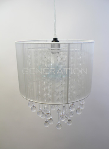 White fabric chandelier with acrylic rain drops beads