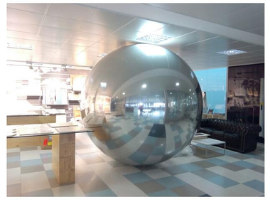 Giant inflatable mirror ball in silver