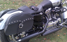 Mandy's '12 Harley-Davidson Sportster 1200 Custom w/ Single Strap Studded Motorcycle Saddlebags