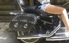 Sharon's Harley-Davidson Sportster XL1200V 72 w/ Shock Cutout Motorcycle Studded Saddlebags