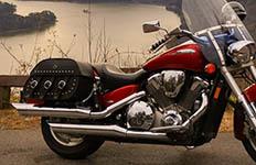 Jeff's Honda VTX 1800 Retro w/ Trianon Studded Motorcycle Saddlebags