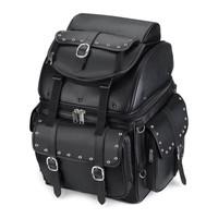 Leather Studded Motorcycle Backrest Seat Luggage