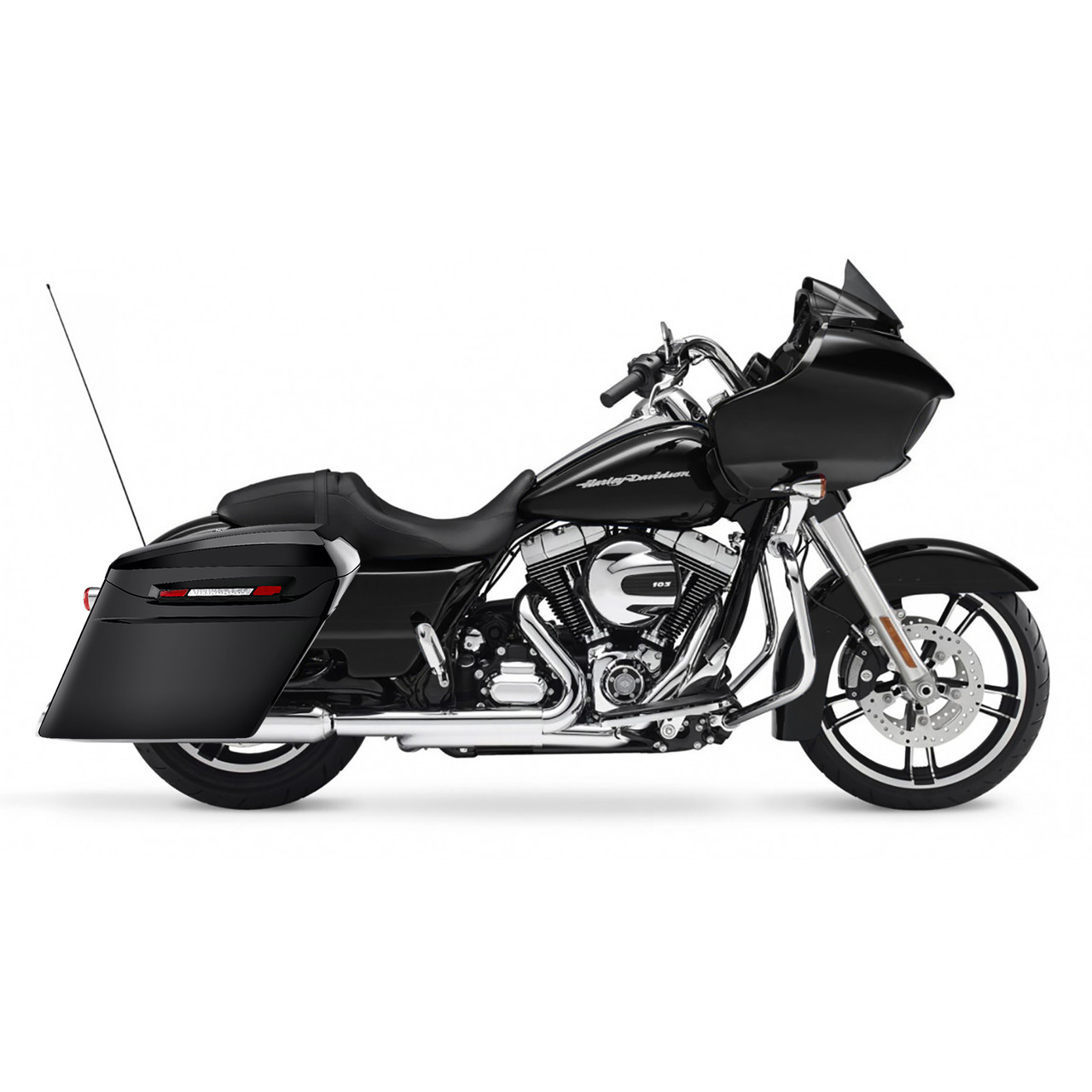 Viking Touring Bagger Gloss Black Stretched Extra Large Saddlebags For  Harley Road Glide