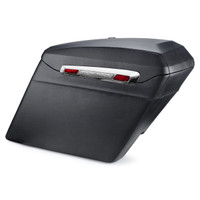 Harley Electra Glide Touring Bagger Silver Hinge Leather Covered Stretched Saddlebags Main View