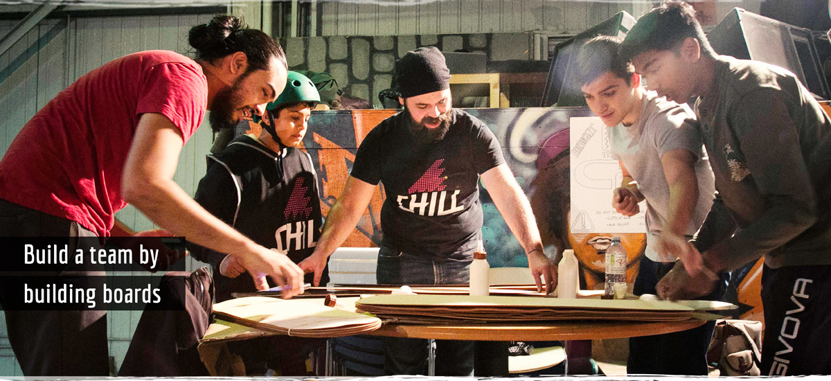 Build a team with skateboards