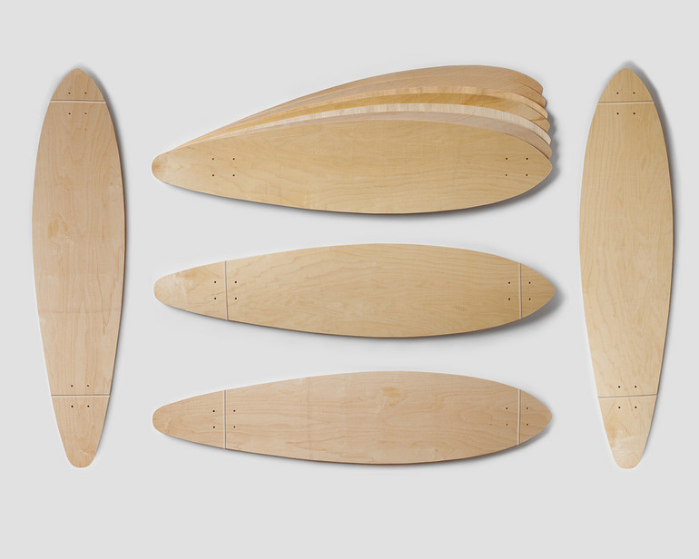 Five sets of Pintail-shaped maple veneer 7-layer set