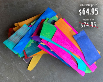 All irregular shapes, this box of off cut pieces of dye-infused maple veneer is suitable for very small projects.